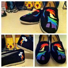 Rainbow Dash Brony Custom Painted Shoes by chloebdesigns on deviantART