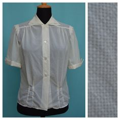 Vintage 1950s Blouse Vtg 50s Cream shirt by VintageGreenClothing, £24.99