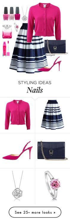 """Pink & Navy"" by burlsgurl on Polyvore featuring Chicwish, Oscar de la Renta, Jimmy Choo, Aspinal of London, OPI and BERRICLE"