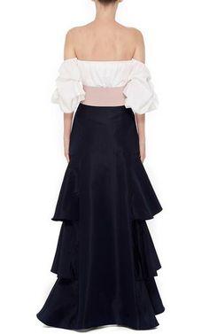 Johanna Ortiz Silk Ruffled Midnight Skirt + Johanna Ortiz White Cotton Poplin Off The Shoulder Tulum Top Couture Fashion, Boho Fashion, Girl Fashion, Fashion Dresses, Fashion Magazine Cover, Grunge Outfits, Traditional Fashion, Black Silk, Black Maxi