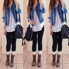 OOTD! plain tee x jean jacket x combats. Shirt and socks: @DAILYLOOK   jacket: jayjays   boots: Steve Madden #dailylook