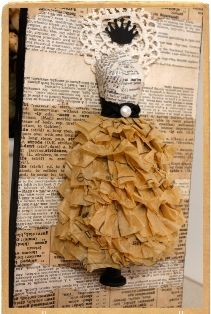 Original pinner sez: Love the different color texts as background - Cindy at Junque Art did a fantastic job! Paper Clothes, Paper Dresses, Dress Card, Springboard, Paper Fashion, Pintura Country, Altered Books, Altered Art, Card Making Inspiration