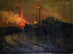"""huariqueje: """" The Steelworks, Cardiff at Night - Lionel Walden American """" Salvador Dali, Nocturne, Cardiff, Great Paintings, Landscape Paintings, Landscapes, Pablo Picasso, Painting Gallery, Art Gallery"""