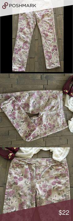 Pink Flower print denim pants Good condition inseam 30 inches hip 20 inches aviva Pants Straight Leg