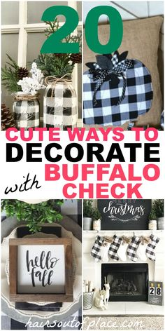 20 buffalo check decor ideas to add year-round rustic charm to your home! Christmas buffalo check, fall buffalo check and ideas with curtains, kitchen, your bedroom and DIY buffalo check ideas and more are included! Rustic Charm, Rustic Decor, Farmhouse Decor, Farmhouse Style, Primitive Decor, Country Decor, Easy Home Decor, Cheap Home Decor, Buffalo Check Christmas Decor
