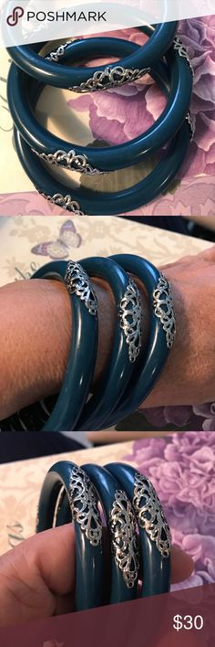 Vintage Blue bangle with silver filigree design Vintage blue bangle with silver filigree, design, no hallmark these bangle are so beautiful Vintage Jewelry Bracelets