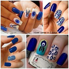 Unhas Decoradas: Olho Grego, símbolo da sorte! Gel Uv Nails, Toe Nails, Acrylic Nails, Pop Art Nails, Toe Nail Art, Nagellack Design, Mexican Birthday, Uñas Fashion, Latest Nail Art