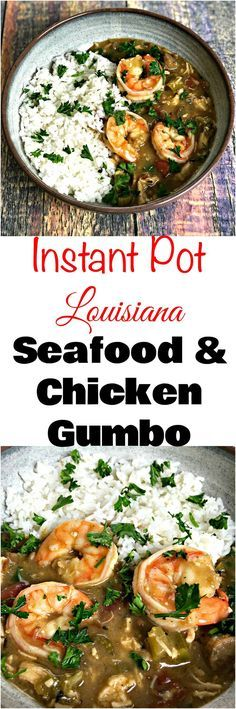 Instant Pot Louisiana Seafood, Chicken, and Sausage Gumbo with shrimp is an easy pressure cooker recipe with okra, Creole seasoning that is Cajun and spicy. #InstantPot #InstantPotRecipes #PressureCooker #PressureCookerRecipes #Spicy #SpicyRecipes