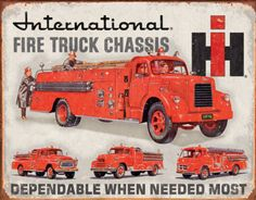 This International Harvester Fire Truck Tin Sign sports a vintage ad for International's fire truck chassis. It's a handsome vintage-style accent for garage or office! 16 x in. Vintage Trucks, Old Trucks, Fire Trucks, Vintage Ads, Funny Vintage, Vintage Metal, Vintage Signs, Vintage Photos, Truck Signs
