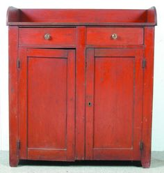Pennsylvania Softwood Jelly Cupboard with old red. Awwwesome cross over appeal to french country! Primitive Furniture, Primitive Antiques, Recycled Furniture, Painted Furniture, Antique Furniture, Primitive Country, Primitive Bedroom, Primitive Homes, Bedroom Furniture