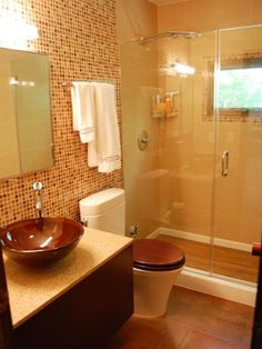 Designing My Modern And Minimalist Living Room With: Focus On Modern Design: Sleek Decorating Ideas From Rate Modern Bathroom, Small Bathroom, Mosaic Bathroom, Bath Tiles, Brown Bathroom, Brown Decor, Bathroom Colors, Bathroom Ideas, Bathroom Updates