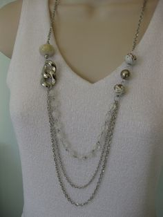 Long White Chunky Beaded Necklace with Multi Strand Chains by RalstonOriginals, $16.00. On Etsy at RalstonOriginals.