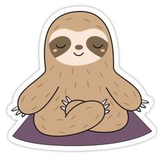 'Kawaii Cute Yoga Meditating Sloth ' Sticker by wordsberry - Yoga Bilder Origami Tattoo, Stickers Kawaii, Cute Stickers, Cute Animal Drawings, Cute Drawings, Pintura Yoga, Doodles Kawaii, Chibi Manga, Griffonnages Kawaii