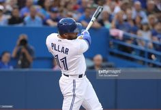 Kevin Pillar of the Toronto Blue Jays hits a two-run double in the fourth inning during MLB-game action against the Arizona Diamondbacks on June 2016 at Rogers Centre in Toronto, Ontario, Canada. Kevin Pillar, Rogers Centre, Mlb Games, Arizona Diamondbacks, Toronto Blue Jays, Raptors, Ontario, June, Action