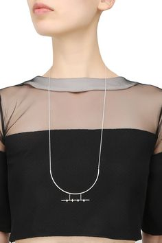 "Dvibhumi presents Silver finish handcrafted "" Manka"" necklace available only at Pernia's Pop Up Shop."
