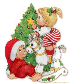niños armando el pinito de navidad