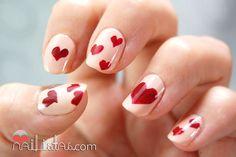 uñas decoradas de san valentín // manicura de corazones