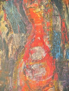 Mujer by Kent Nielsen, Mexico, Red Abstract Oil Painting, Impasto Strokes, Woman or Wife - pinned by pin4etsy.com