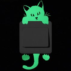 Luminous Cartoon Switch Sticker Glow in the Dark Cat Sticker Fluorescent Fairy Moon Stars Sticker Kid Room Decoration Home Decor Kids Stickers, Star Stickers, Wall Stickers, Removable Wall Decals, Vinyl Wall Decals, Super Cute Cats, Cat Wall, Cartoon Design, Cat Pattern