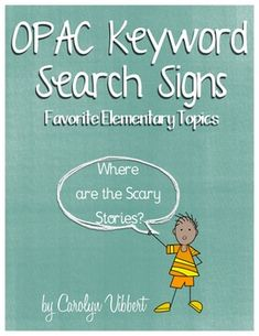 Elementary Library OPAC Search Signs - Free!