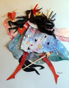 - Morgana Wallace mixes watercolour with paper collage to create these colourful three-dimentional illustrations using layers of cut paper to build on her Lart Du Papier, Paper Cutting, Cut Paper Illustration, Cut Out Art, Paper Art, Paper Crafts, Kirigami, Illustrations, Paper Dolls