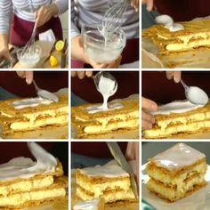 Glazuur maken met poedersuiker, een beetje water en een beetje citroensap, uitgesmeerd op een lekker bladerdeeg tompoes gebakje