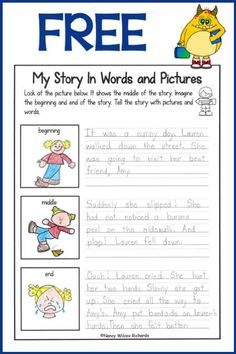Writing prompts with a structured story (beginning, middle and end). Great for making inferences and predictions. First grade, second grade and kindergarten. Home school. writing activities at home Writing Prompts For Kids, Picture Writing Prompts, Narrative Writing, Writing Lessons, Kids Writing, Teaching Writing, Writing Skills, Sentence Writing, Picture Story Writing