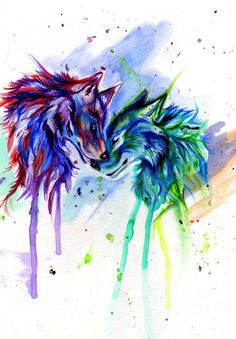 colorful images of wolves - Google Search