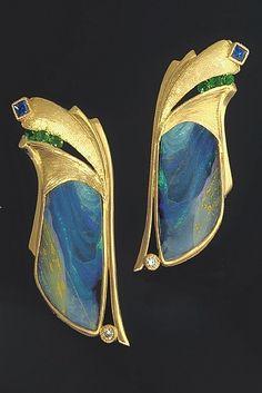 22K Gold, Boulder Opal Splits, Sapphire, Tsavorite Garnet and Diamond Earrings by Athenae Inc ~ x #opalsaustralia