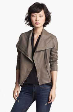 Crop leather moto jacket / Vince