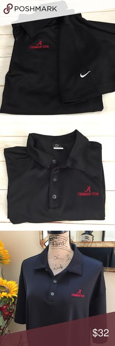 """😎MENS Nike sphere dry Alabama Roll Tide polo 😎MENS Nike Golf Sphere Dry Alabama Roll Tide polo shirt. This is a black University of Alabama Crimson Tide Nike golf shirt. No fading or picks in fabric. Preloved in excellent condition. Pit to pit measurement is 23"""". Length is 31"""". Extra button. Nike Shirts Polos"""