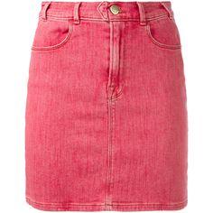 Frame Denim retro denim skirt (4,710 MXN) ❤ liked on Polyvore featuring skirts, red, red knee length skirt, denim skirt, red denim skirt, red skirt and retro skirts