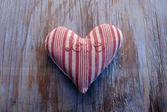 Striped Love Sachet Pink Red & Hemp Vintage by KellinaDesigns, $20.00