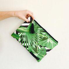 Sac Pochette clutch tropicale végétal bambou jungle et