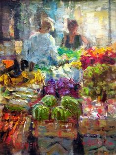 Farmers Market #2, painting by artist Julie Ford Oliver