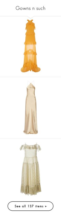 """""""Gowns n such"""" by channabell ❤ liked on Polyvore featuring dresses, gowns, maxi dress, prabal gurung, scoop-neck dresses, a line gown, yellow evening gown, scoop neck maxi dress, evening maxi dresses and long dresses"""