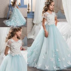 2017 New Flower Girls Dresses For Weddings Lace Appliques Short Sleeves Tulle Sweep Train Birthday Dress Children Party Kids Girl Ball Gowns Girl Wedding Dress Ivory Flower Gir Ls Dresses Flowers Girls Dresses for Weddings Online with $112.58/Piece on Yes_mrs's Store   DHgate.com