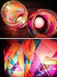 Paper+Candle+Holder+Craft | tissue paper mason jar candle holder | Crafts