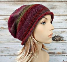 Knit Hat Womens Hat - Atticus Slouchy Beanie in Ruby Red Blue Green - READY TO SHIP