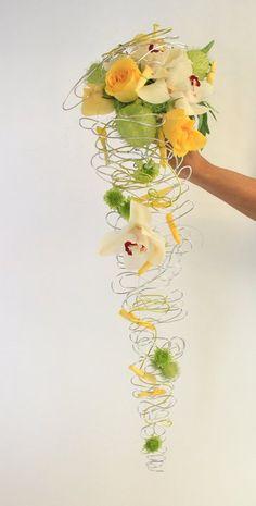 Yellow and green cascade #wedding #bouquet