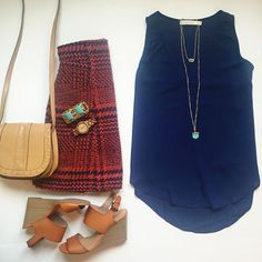 cognac wedges, cutout shoes, houndstooth skirt, eshakti skirt, saddlebag, turquoise bracelet, wood watch, navy tank top, kendra scott necklace, spring outfit // what nicole wore: a louisville style blog