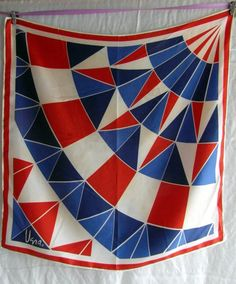 Vera Neumann.silk scarf square red, white and blue..