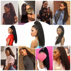 Gamay Straight Drawstring  Ponytail Hairpieces With Elastic Band Comb(GP5) Ponytail Hairstyles, Straight Hairstyles, Drawstring Ponytail, Straight Ponytail, Ponytail Extension, Synthetic Hair, Hair Pieces, Kinky, Afro