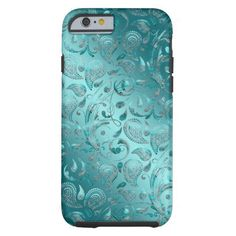Save Up To 60% Today! Shiny Paisley Turquoise Tough iPhone 6 Case