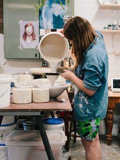 Ceramicist Milly Dent in her Sydney studio.   Photo – Rachel Kara for The Design Files.