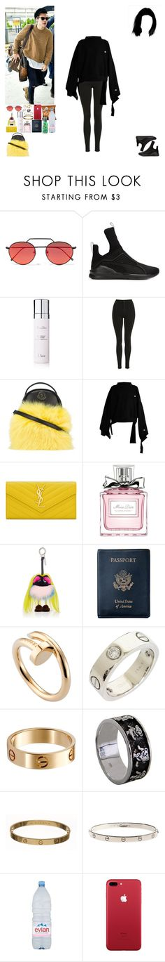 """""""Airport from Los Angeles to Marrakesh.(Harry's BF)"""" by asma-d ❤ liked on Polyvore featuring Illesteva, Puma, Christian Dior, Topshop, Moncler, Vetements, Yves Saint Laurent, Fendi, Royce Leather and Cartier"""