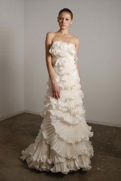 Marchesa White Ruffle Gown