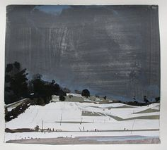April Storm, Original Spring Landscape Collage Painting on Paper, 11 x 15 Inches, Stooshinoff