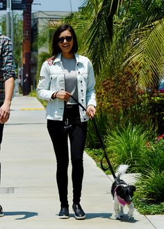 Nina Dobrev heads to lunch with her dog Maverick in Los Angeles, CA // July 03, 2017.