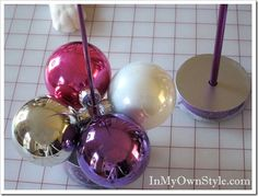 Tabletop Knitting Needle Ornament Tree instructions and tutorial